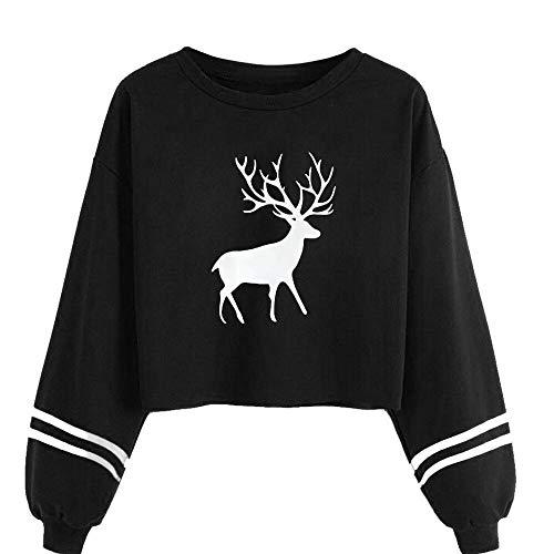 Clearance Women Tops LuluZanm O Neck Deer Print Sweatshirt Tops Women Casual Long Sleeve Blouse