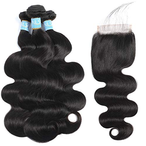 Ailsa 9A Brazilian Human Hair Body Wave 3 Bundles with Closure (14 16 18+14)Natural Color 100% Unprocessed Virgin Hair Extension