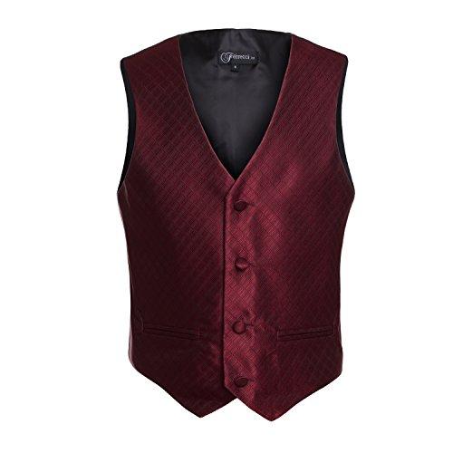 Ferrecci Boys Burgundy Premium 300 Vest Hankie Necktie Bow Tie Set, Size 10