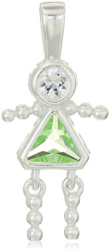 Sterling Silver AAA Cubic Zirconia Simulated Birthstone Babies Girl Charm, August