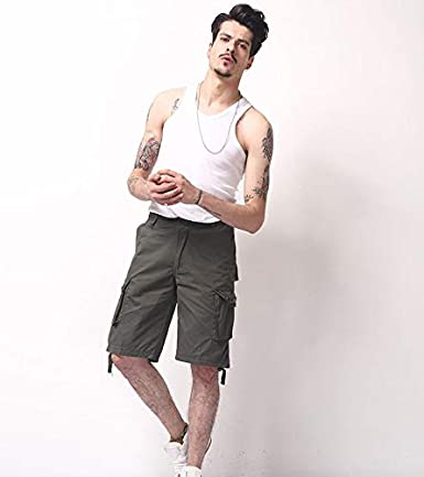 SHU QI Shorts Summer New Mens Fashion Loose Overalls