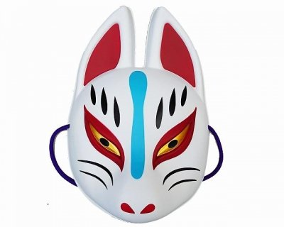 Amazon.com: Japanese Fox Kitsune OMEN MASK RED BLACK 24x5xm ...