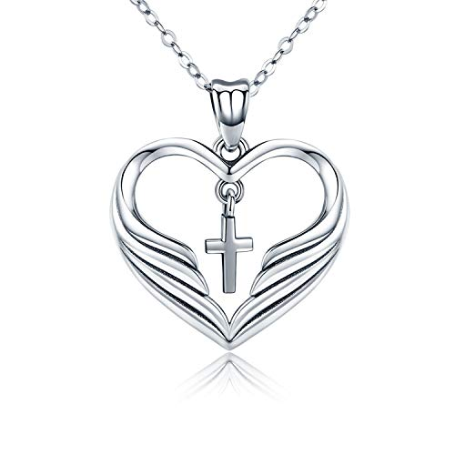 MEDWISE Religious Necklace Jewelry Guardian Angel Wings Necklace Love Heart Pendants Sterling Silver S925 Gift for Women ()