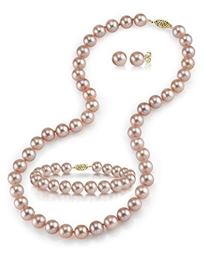 "THE PEARL SOURCE 14K Gold 7-8mm Round Pink Freshwater Cultured Pearl Necklace, Bracelet & Earrings Set in 18"" Princess Length for Women"