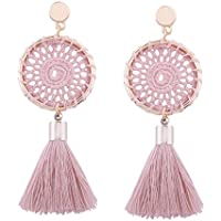 Fenleo Fashion Bohemian Vintage Long Tassel Fringe Boho Dangle Earrings Women Jewelry (Pink)