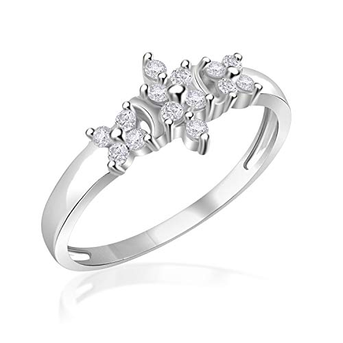 Simulated Diamond Marquise-Shaped Cluster Cocktail Ring for her 14k White Gold Finish