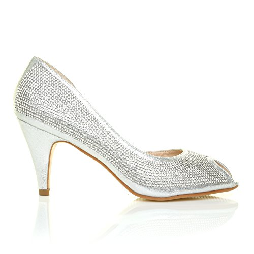 May Silver Shimmer Diamante Peep Toe Mid Heel Embellished Wedding Court Shoes MPKJqPx