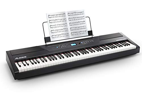Alesis Recital Pro | Digital Piano / Keyboard with 88 Hammer Action Keys, 12 Premium Voices, 20W Built-in Speakers, Headphone Output and Educational Features (Renewed)