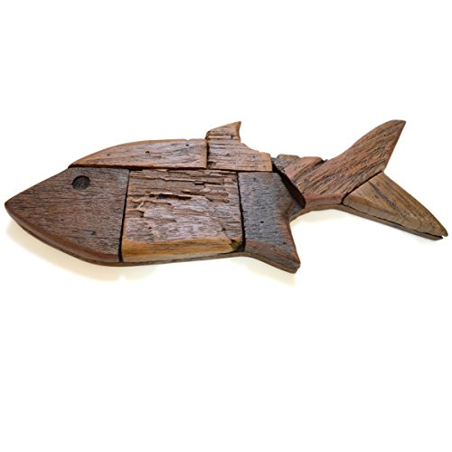 CinMin Handcarved Rustic Wood Fish Wall Plaque, 15