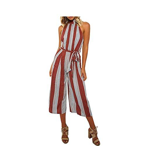 Elegant Vertical Striped One Piece Linen Wide Leg Jumpsuit Women Sashes Plus Si by Rainlife jumpsuits