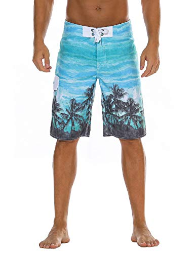 (Nonwe Men's Swimsuit Quick Dry Beach Vacation Printed Boardshorts Mesh Lining Blue 30)