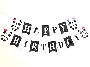 amazon com cartoon cute panda themed banner felt happy birthday