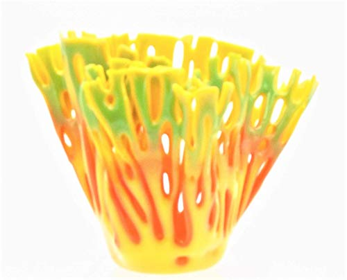 Editors' Choice: 5 inch Yellow Orange Green Coral Vase Candle Holder Handcrafted Fused Glass