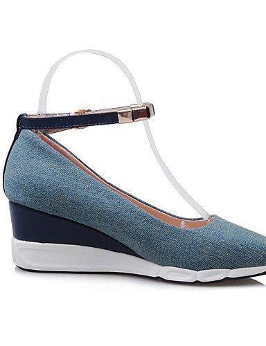GGX/ Damenschuhe-High Heels-Outddor / Kleid / Lässig-Stoff-Keilabsatz-Wedges / Absätze / Neuheit / Spitzschuh / Geschlossene Zehe-Blau / dark blue-us7.5 / eu38 / uk5.5 / cn38