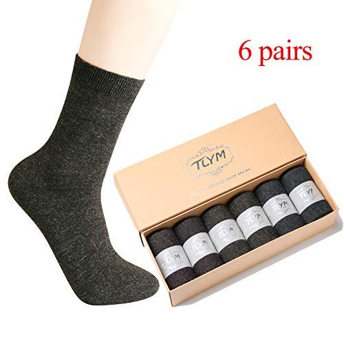 Pack of 6 Crew Socks Mens Dress Wool Socks Business Socks for Men
