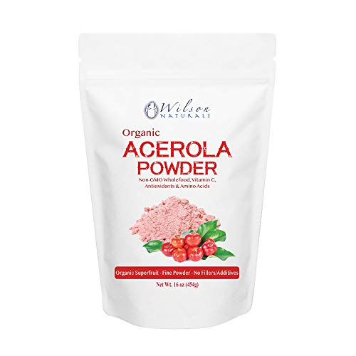 Wilson Naturals Organic Acerola Powder (Non-GMO) – Vitamin C Powder with Immune Factors Made from Wholefood Acerola Cherry. No Additives and Natural Minerals and Citrus Acid 454 Gram (114 Servings) For Sale