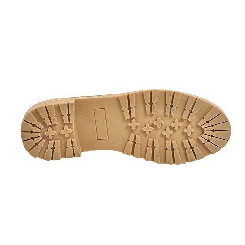 Odomolor Women's Buckle PU Round-Toe Low-Heels Solid Pumps-Shoes, Lightbrown, 43