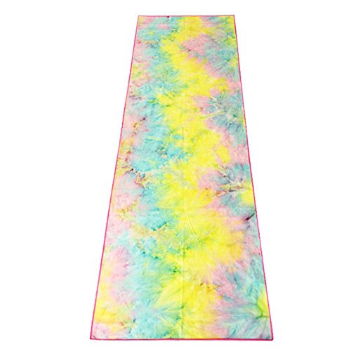 ZHAOWEI Double knitted Microfiber Yoga Towel, colorful-Pink edge, 72