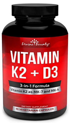Vitamin K2 (MK7 & MK4) with D3 Supplement – Vitamin K & D as MK-7 100mcg, MK-4 500mcg, and 5000 IU Vitamin D3-3-in-1 Formula for Bone and Heart Support – 90 Non-GMO Vegetarian Capsules