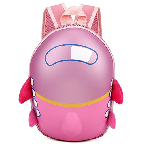 Vibola Kids Cute Airplane Cartoon Eggshell Backpack Baby Girls Boys Preschool Bag (Pink)