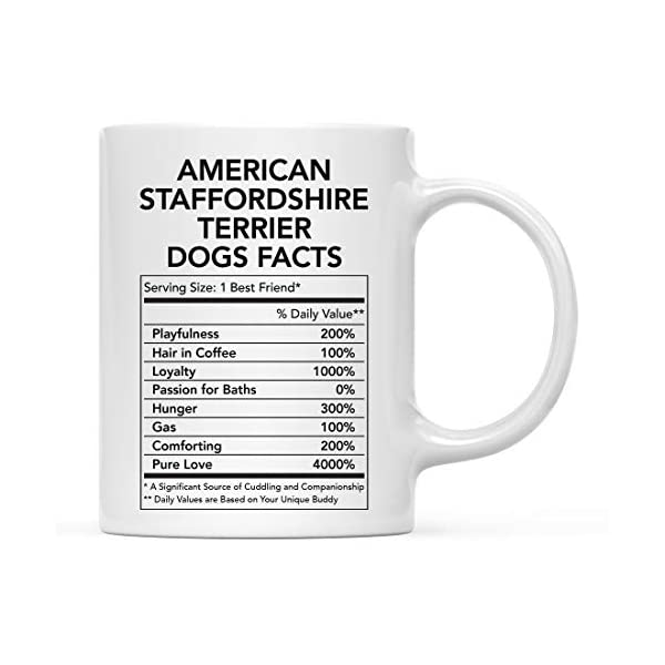 Andaz Press Funny Dog Lover's 11oz. Ceramic Coffee Mug Gift, American Staffordshire Terrier Nutritional Facts, 1-Pack, Dog Mom Dad Birthday Christmas Ideas 1