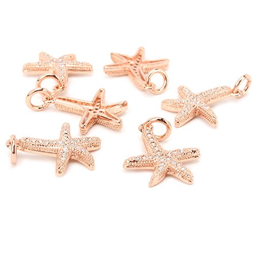 - Wholesale 6 PCS Small Tiny Starfish Charms Set Natural CZ Zircon Inlaid Pendant Bulk for Jewelry Making (Rose Gold)