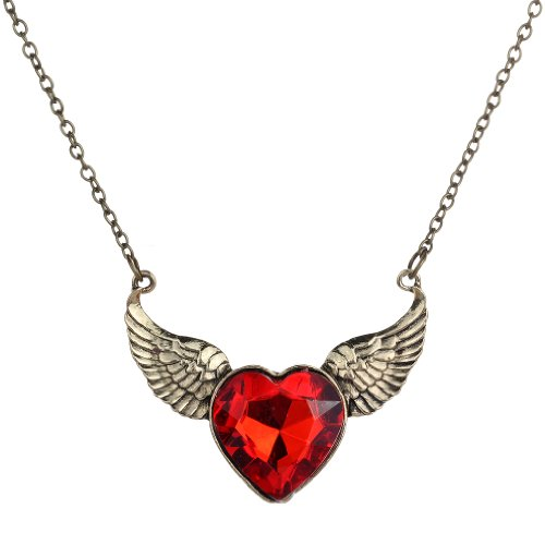 New Arrivals Heart (YAZILIND Jewelry Vintage Bronze Chain Angle Wing Carve Red Heart Chain Pendant Necklace)