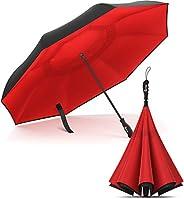 Repel Umbrella Reverse Umbrella - Upside Down Inverted Reversible Wind Resistant Design - Teflon Canopy - Wind