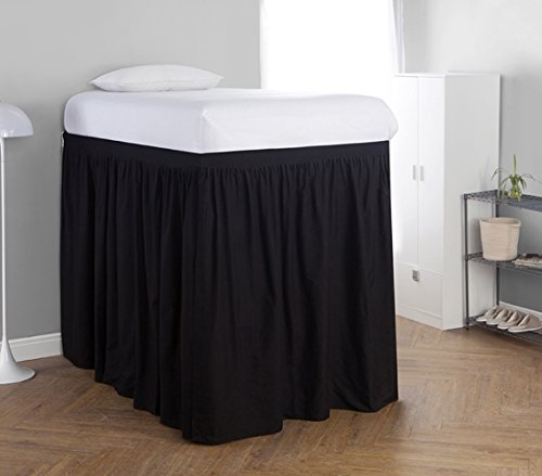 Black Twin Panel Bed - DormCo Extended Bed Skirt Twin XL (3 Panel Set) - Black