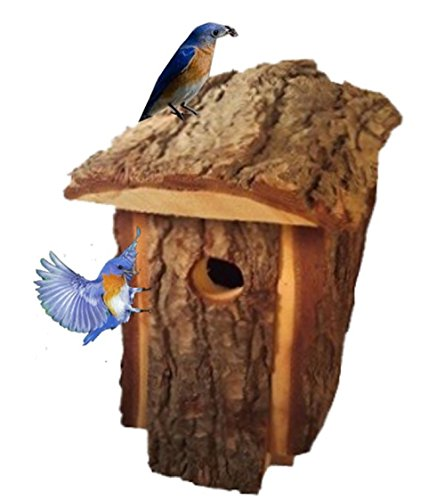 Bluebird House for Outdoor Backyard Rustic Natural Wood Looking Pine To Attract BlueBirds and Other Small Birds
