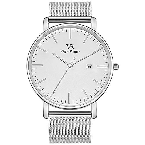 Vigor Rigger Minimalist Mens Analog Quartz Watches Date Disply with Ultra Thin Silver Dial and Milanese Mesh Band