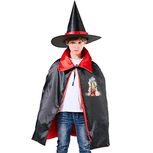 Kids Lady Liberty Halloween Costume Cloak for Children Girls Boys Cloak and Witch Wizard Hat for Boys Girls Red -