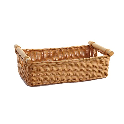 The Basket Lady Low Pole Handle Wicker Storage Basket, Toasted Oat, Small