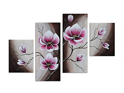 - Noah Art-Rustic Floral Art, Spring Blooming Tulips Flower Artwork 100% Hand Painted Modern Flower Oil Paintings On Canvas, 4 Panel Framed Purple Flowers Wall Art for Bedroom Home Decor