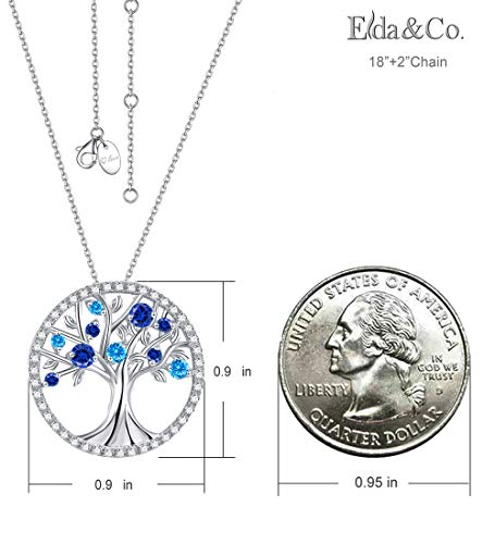 September Birthstone The Tree of Life Jewelry Created Sapphire Pendant and December Birthstone Created Blue Topaz Necklace Sterling Silver Birthday Anniversary Gifts for Her Family by Elda&Co (Image #1)