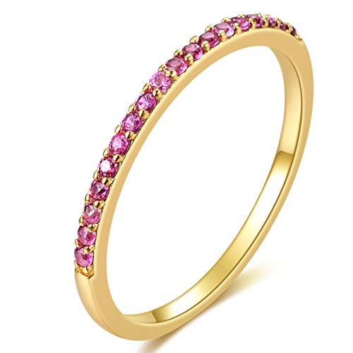 - E 18K Yellow Gold Plated Shell Pearl Rings for Women, Womens Stackable Birthstone Ring Set, Fashion Statement Band Finger Rings for Teen Girls with CZ Gemstones (6, red Corundum)