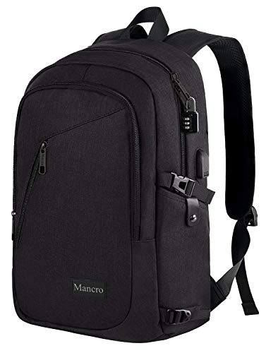 Anti Theft Business Laptop Backpack with USB Charging Port Fits 15.6 inch Laptop, Slim Travel College Bookbag for MacBook Computer, School Computer Bag for Women & Men by Mancro (Black) ()