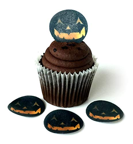 Pumpkin Face Jack O Lantern Halloween Wafer Paper Toppers 1.5 Inch for Decorating Desserts Cupcakes Birthday Cakes Cookies Pack of 24 -
