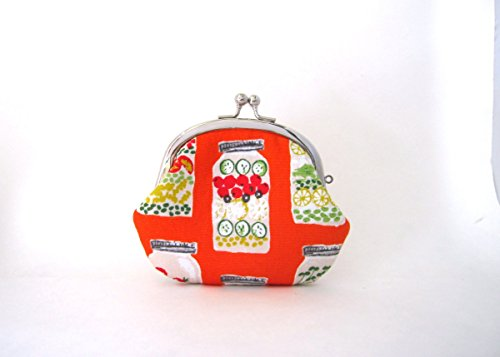 Coin Purse- Change Pouch- Kiss Lock Coin Case- Jar Salad on Orange