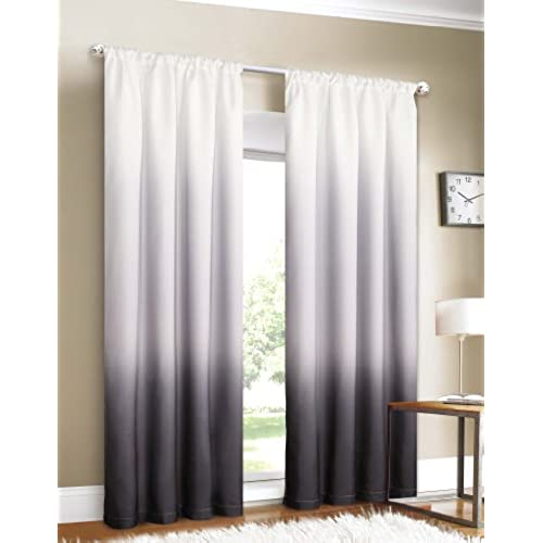 Black and white curtains for living room for Curtains for black and white living room