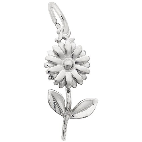 Daisy Charm In 14k White Gold, Charms for Bracelets and Necklaces (Gold 14k White Bracelet Charm)