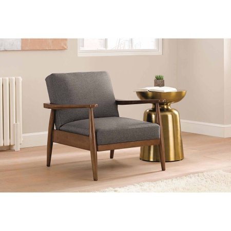 Better Homes and Gardens Mid-Century Chair Wood with Linen Upholstery