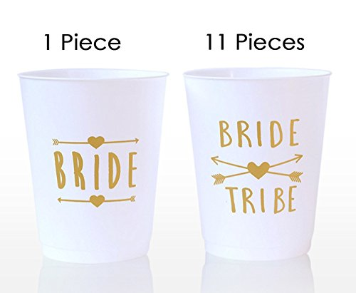 (12 Pack ) Bride and Bride Tribe Cups White - for Bachelorette, Bridal, & Hen (Neon Solo Cups)