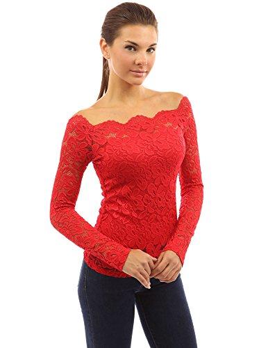 Donne floreale superiore fuori parte spalla Rosso Brillante pizzo PattyBoutik della AfdqwFf
