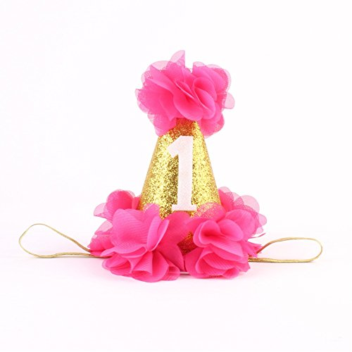 Stock Show 1st Pet Birthday Cone Hat Dogs Cats Holiday Party Hat Headwear Costume with Flowers Accessories and Adjustable Headband for Small Medium Dogs Cats Pets Baby -