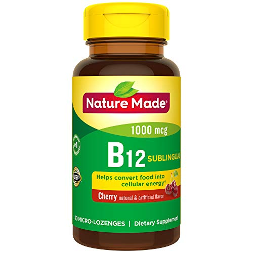 - Nature Made Sublingual Vitamin B12 1000 mcg. Cherry Flavored Lozenges 50 Ct