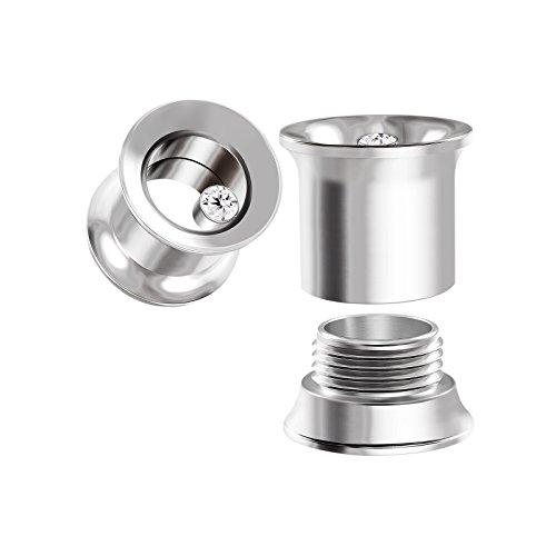 BIG GAUGES Pair Internally Threaded Steel Clear Crystal 00g Gauge 10mm Double Flared Piercing Jewelry Ear Plugs Lobe Tunnel BG0057 -