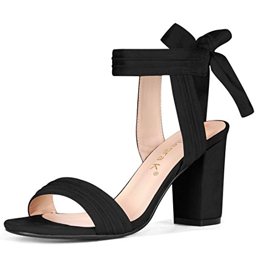 (Allegra K Women's Open Toe Ankle Tie Back Chunky Heel Black Sandals - 9 M US )