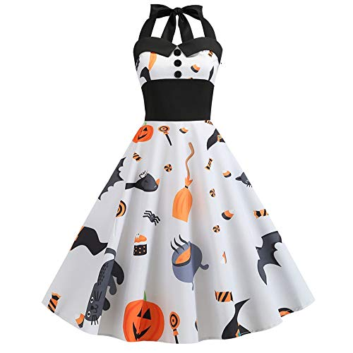 Aniywn Women Vintage Print Sleeveless Halter Halloween Elegant Dress Corset Evening Party Mini Dress White (Camouflage Southern Hat)