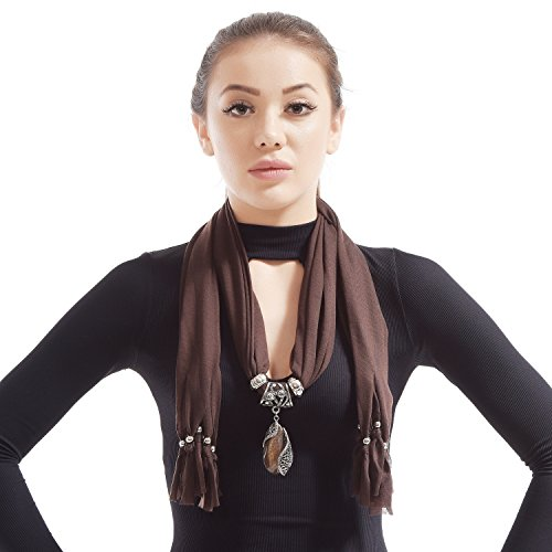 LERDU Gift Idea Indian Pear Shaped Stone Pendant Brown Scarf Necklace Soft Jersey Infinity Scarf Tassel Jewelry for Women ()